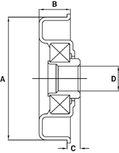 Precision Bearings – Steel Housed Technical Drawing